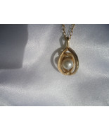 Designer Natural 7mm  Pearl 14k Yellow Gold Pendant 2.7g Prof.Tested - $120.00