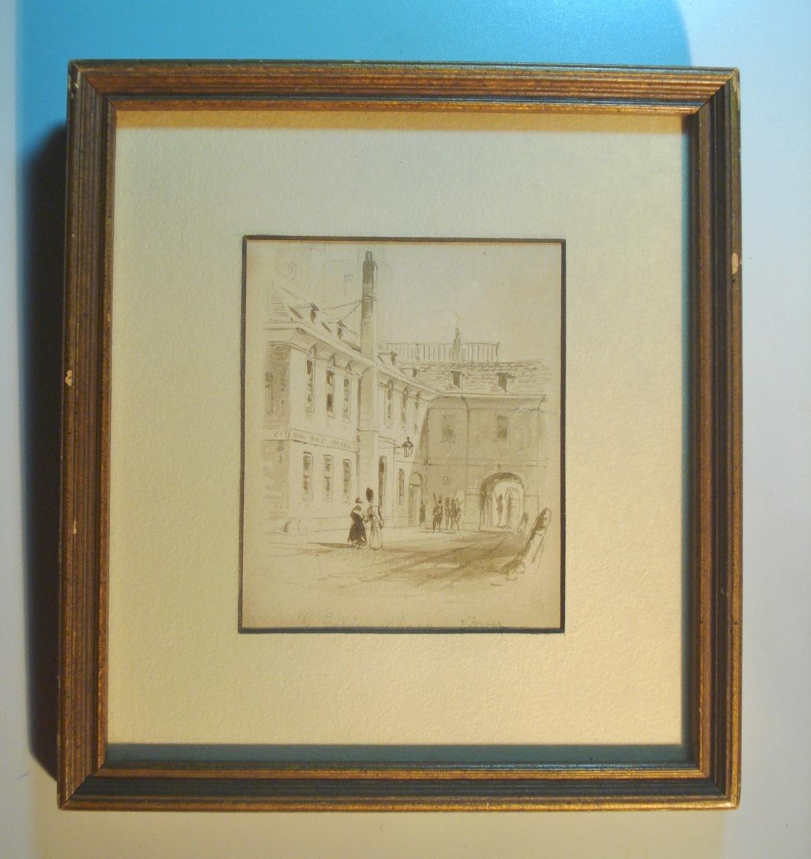 Castle Art Watercolor Painting Illegible Signature Title 01588