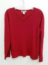 Eddie Bauer Womens Medium Blouse T-Shirt Red Long Sleeves V-Neck Pullover B298 - $14.99