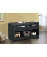 Black Finish Cubby Storage Bench Entryway Seating Lift Top With Seat Cus... - $147.83
