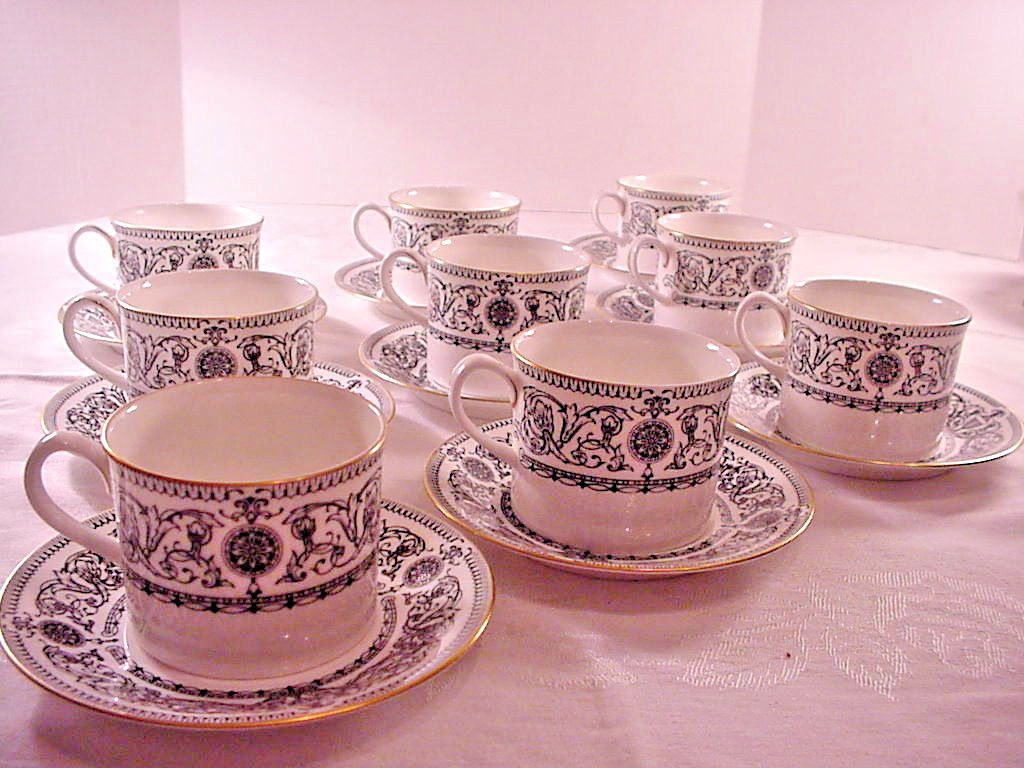 Royal Worcester Padua Cup and Saucer Flat set of 9
