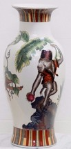 VINTAGE CHINESE MONKEYS IN A TREE WITH FRUIT PORCELAIN VASE WITH GOLD RI... - $96.74