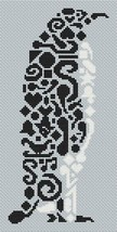Tribal Penguin monochrome cross stitch chart White Willow stitching - $6.30