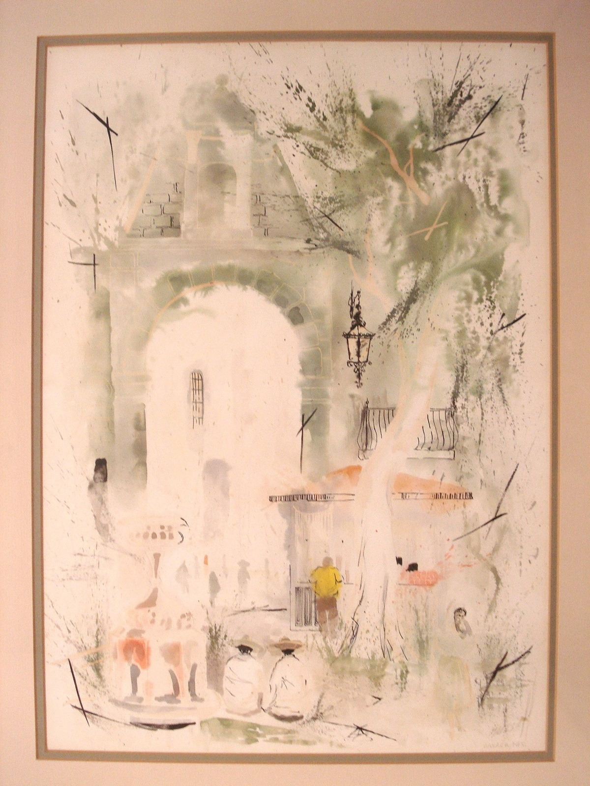 Mexican Decor Watercolor Painting Genre Signed Musse Oaxaca Mexico 01271
