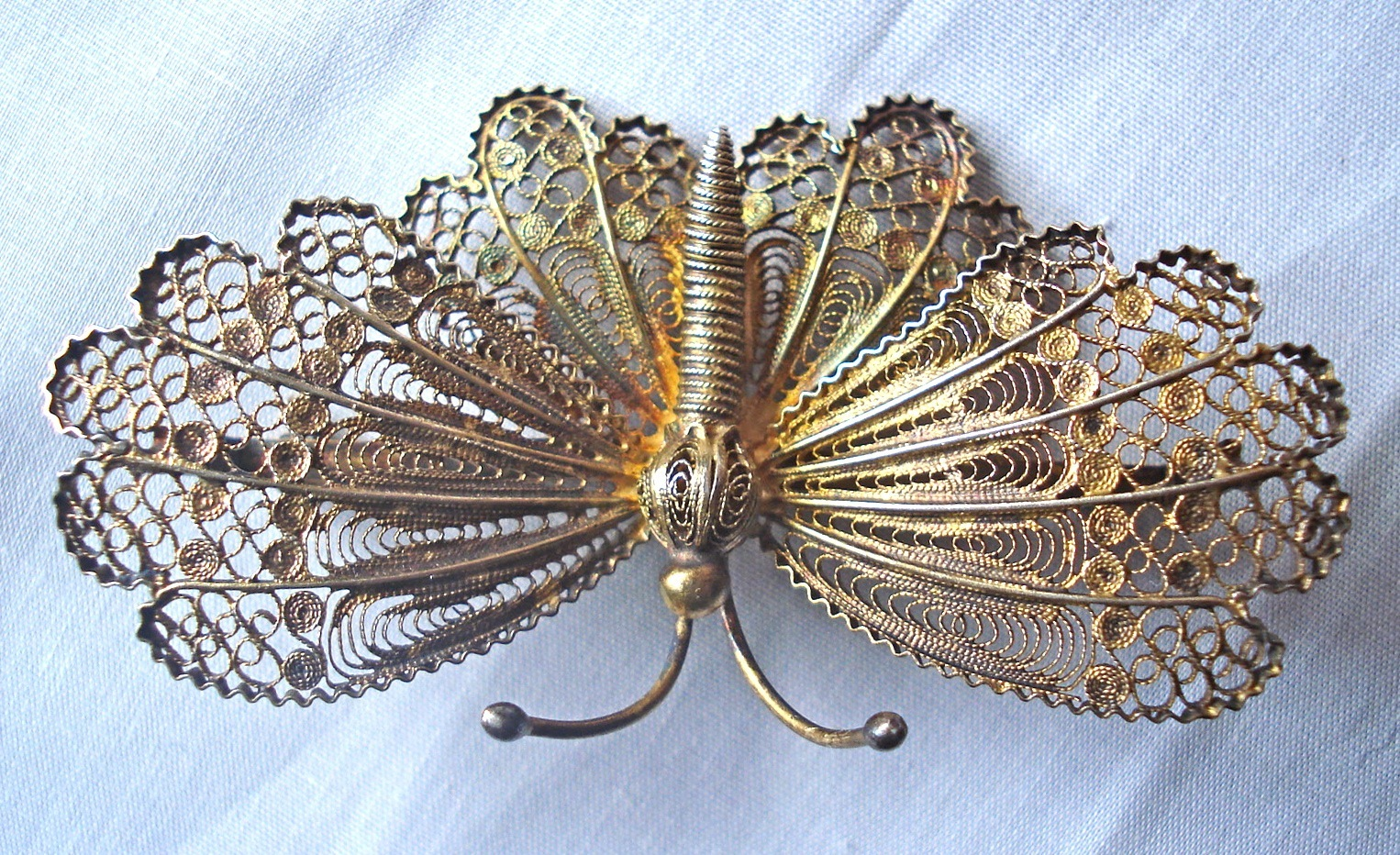 Vintage Filigree Butterfly Brooch Stamped 800 Silver 01294