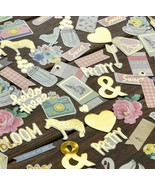 Set of 60 /120 Chipboard Stickers! Gold Foil Accents scrapbooking, Paper... - $9.79+
