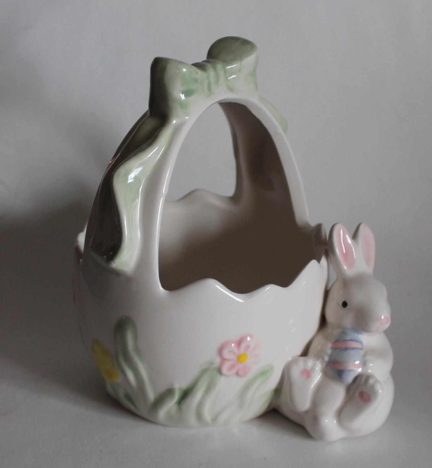 Easter Basket Ceramic Basket With Rabbit Easter Decor Easter Spring