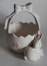 Easter Basket Ceramic Basket with Rabbit Easter... - $9.75