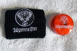 NEW JAGERMEISTER BLACK WRISTBAND AND ORANGE BLINKING BUTTON image 4
