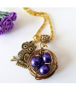 Handcrafted Purple Beaded Wire Wrapped Nest with Owl Necklace - $15.50