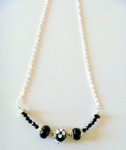 Black Lampwork and Crystal Beaded Necklace - $14.99