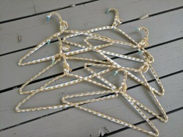 Lot of 7 Vintage Yarn Covered Hangers Crochet Knit Handmade Neutral Fawn... - $9.99