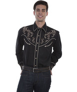 Men's Western Shirt Long Sleeve Rockabilly Country Cowboy Black Floral S... - $87.38