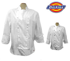Nwt Dickies CW070103 Master Koch Mantel mit / Nietenknöpfe 34-56 Weiß 100% - $18.97