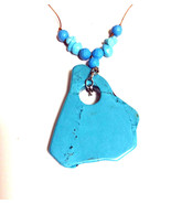 Handmade Artisan Unknown Turquoise (Simulated) Chunky Pendant Stone Neck... - $4.50