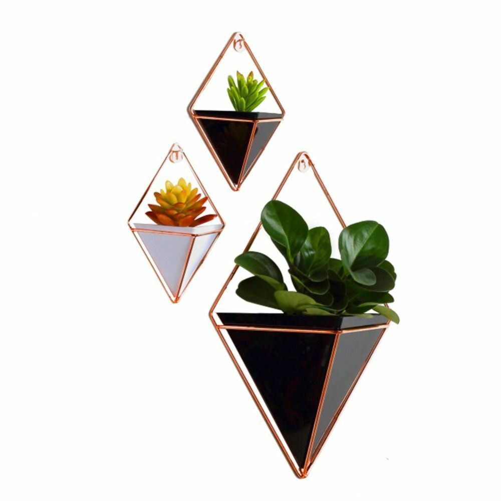 Primary image for Plant Holders Acrylic Flower Pot Iron Indoor Hanging Geometric Vase Wall Decor