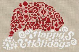 Tribal Santa Hat holiday monochrome cross stitch chart White Willow stitching - $6.30