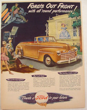 1947 FORD gold CONVERTIBLE Print ad Stage Actors Camera Man on lift   - $9.99