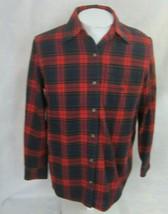 "Lauren Ralph Lauren Women Top flannel shirt cotton M p2p 22"" plaid red b... - $19.59"