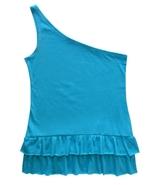 One Step Up Size M Girls Turquoise One Shoulder Raw Edge Ruffle Hem Top  - $4.99
