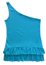 One Step Up Size L Girls Turquoise One Shoulder Raw Edge Ruffle Hem Top  - $4.99