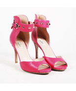 "Valentino Garavani Pink Leather Gold Tone ""Rockstud"" Open Toe Sandals SZ 41 - $290.00"