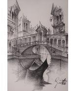Italian Art Drawings Venice Italy Gondola Signed Illegible Signature MC... - $199.00