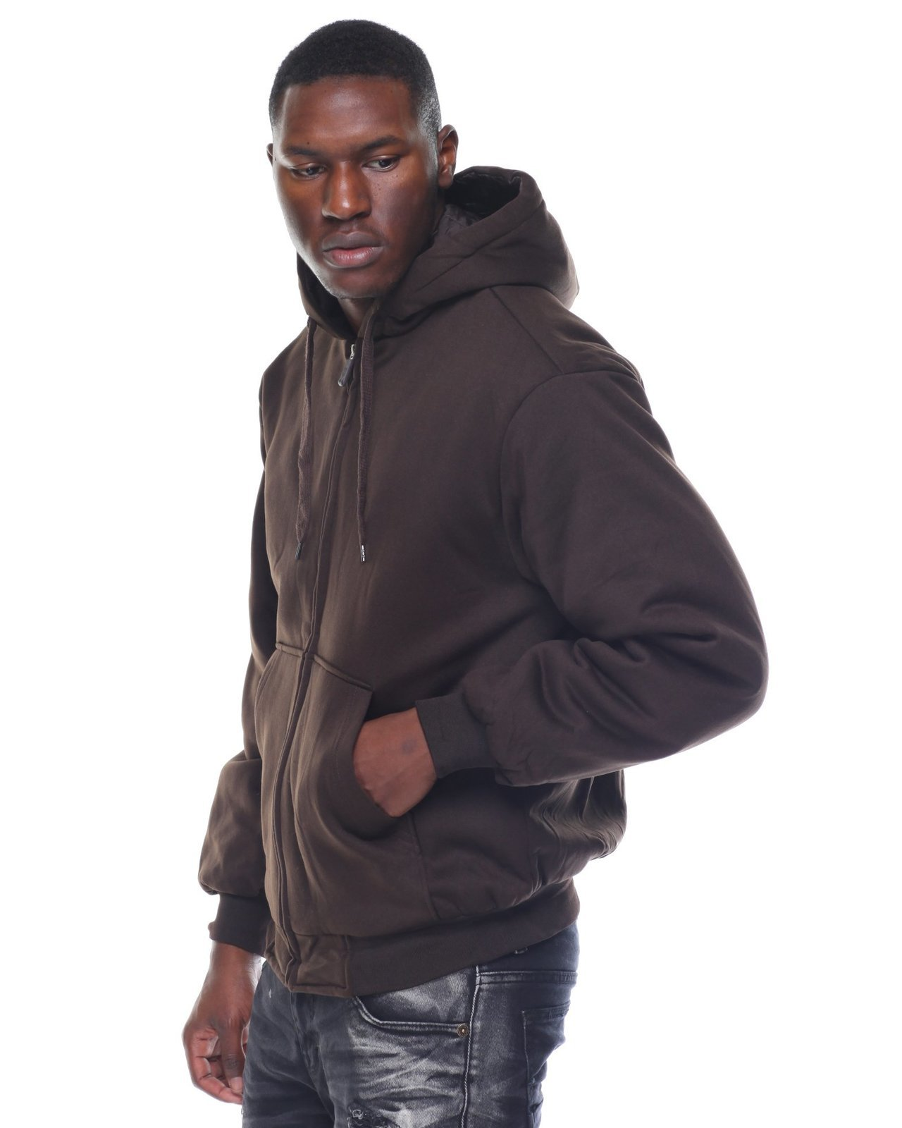 Heavyweight zip front hoodie with adjustable drawstring