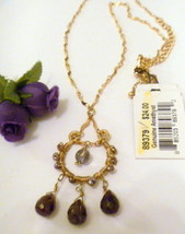 Cookie Lee Genuine Amethyst Beaded Pendant Necklace with Gold Tone Chain... - $9.99