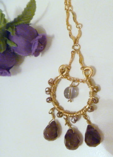 Cookie Lee Genuine Amethyst Beaded Pendant Necklace with Gold Tone Chain - New