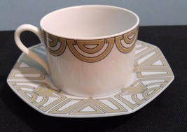 1976 Fitz & Floyd The Ritz Taupe Cup Saucer Set  Art Deco Style - $7.69