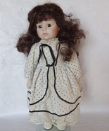 Porcelain Collectors Doll  Brown Curly hair Whi... - $30.00