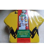 Peanuts Yellow Collectible Shirt Tin Skating Set With 5 miniature figure... - $14.00