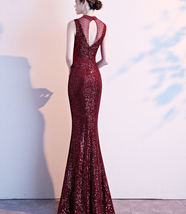 Burgundy Sequin Maxi Formal Dress High Waist V Neck Sequin Dress Wedding Gowns image 8
