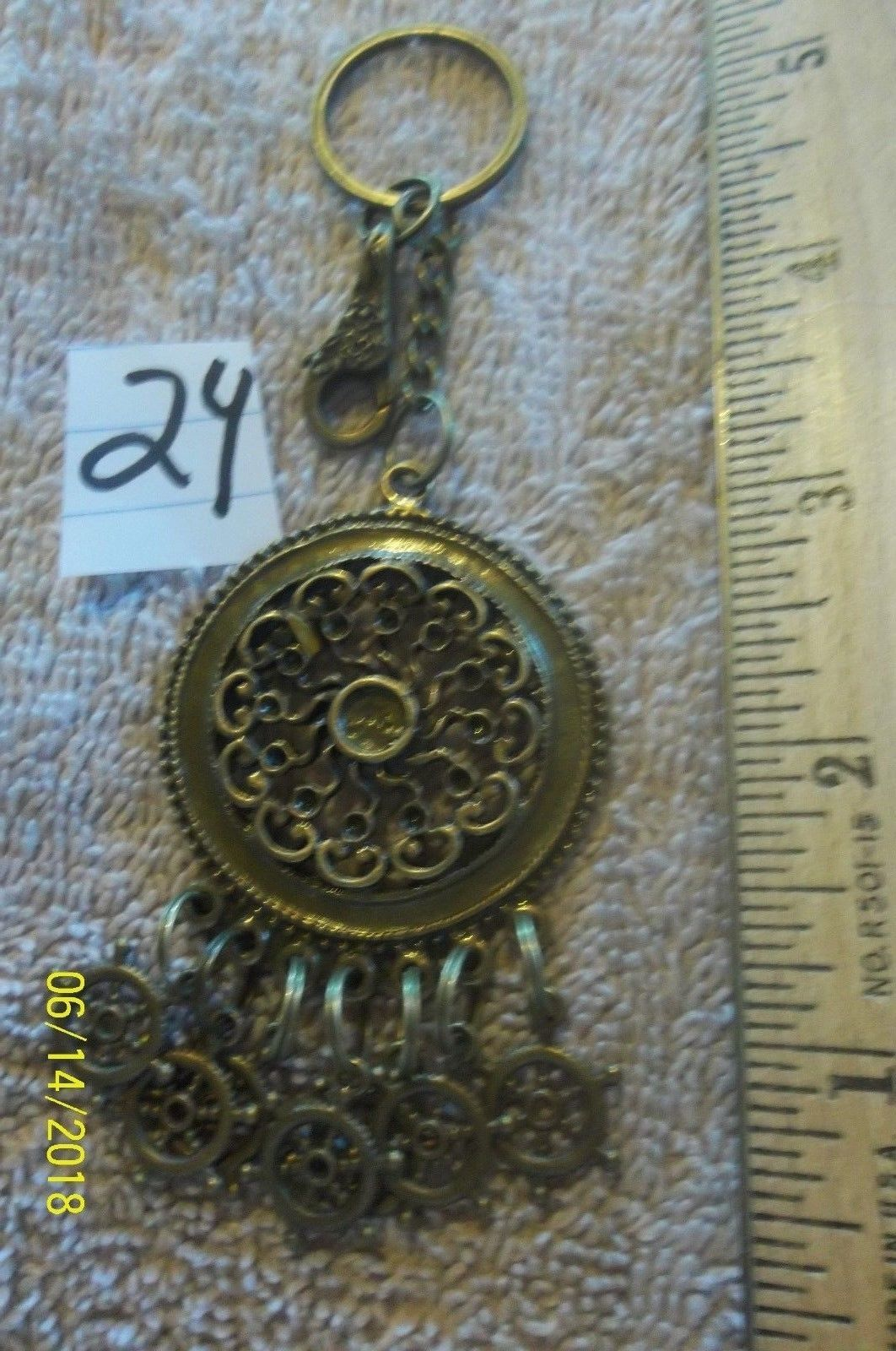 Primary image for # purse jewlrey bronze color keychain backpack filigree dangle charms #24