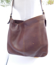 Vintage Coach 9406 Distressed Brown Leather Hobo Hippie Tote Purse - $89.00