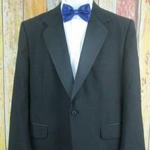 Vintage Burberry Mens Tuxedo Jacket Black One Button Wool 48 Regular - $65.63