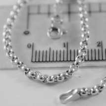 SOLID 18K WHITE GOLD BRACELET WITH ROUND CIRCLE ROLO LINK, 2.5 MM MADE IN ITALY image 2