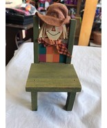 Small Wooden Chair Scarecrow Green Wash Color Dolls Child Kids Boy Girl - $9.93