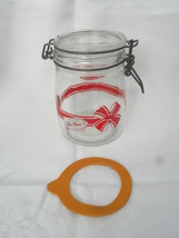 """Vintage Wheaton ¾L """"For You"""" Gift Glass Jar Canister with Hinged Metal B... - $8.99"""