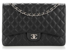 AUTHENTIC CHANEL BLACK QUILTED CAVIAR MAXI CLASSIC SINGLE FLAP BAG SHW
