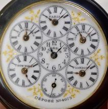 Most unique antique gunmetal&enamel WORLD TIME traveler's 6 time zones w... - $4,550.00