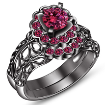 14k Black Gold FN. 925 Sterling Silver Round Cut Pink Sapphire Bridal Ring Set - $97.90