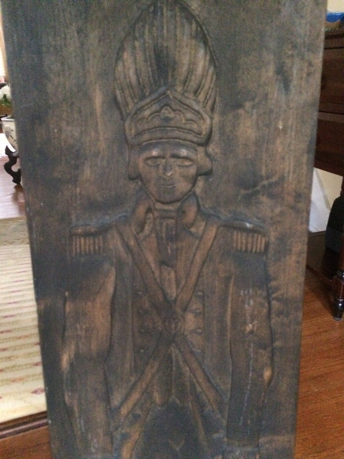 HAND CARVED WOOD ANTIQUE/VINTAGE SOLDIER WALL HANGING PLAQUE 3' TALL