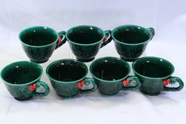 Lefton Green Holly Berry Christmas Cups Lot of 7 - $55.85