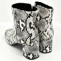 "Boohoo Faux Black & White Snakeskin Snake Skin Print 2.5"" Heel Boots Size 10 image 3"