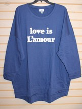 NEW OLD NAVY WOMENS PLUS SIZE 2X LOVE IS L'AMOUR CHENILLE PRINT SWEATSHI... - $15.67