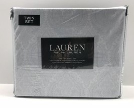 Ralph Lauren Twin Size Sheet Set 3 Piece Gray White Paisley 100% Cotton - $74.79