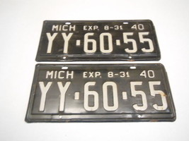 1940 MICHIGAN STATE LICENSE PLATES MATCHED SET YY-60-55 NOS NEVER USED P... - $39.24