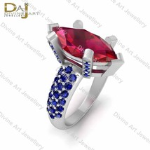 Marquise Ruby and Blue Diamond Wedding Gift Ring Silver Jewelry White Go... - £120.91 GBP+